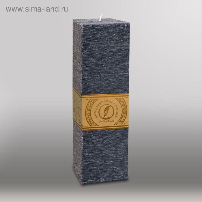 """Свеча квадратная призма """"Рельеф"""", 75x75x250мм,  черный"""