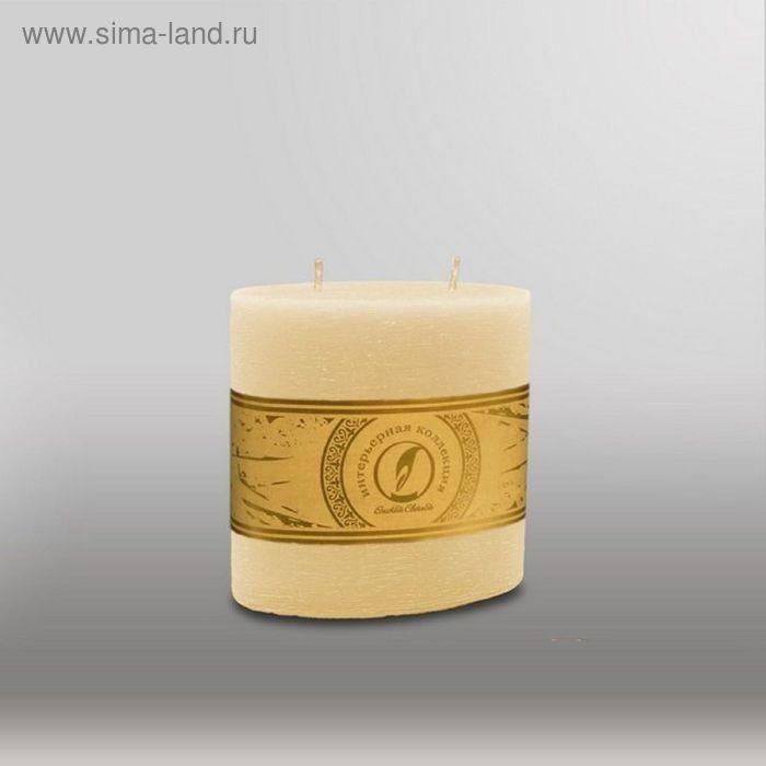 """Свеча овальная призма """"Рельеф"""", 125x63x125мм,  2 фитиля кремовый"""