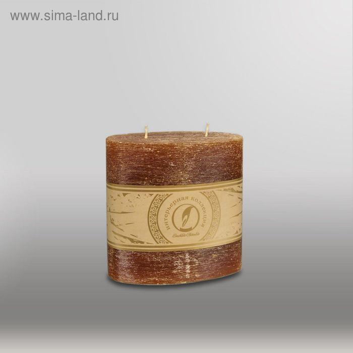 """Свеча овальная призма """"Рельеф"""", 125x63x125мм,  2 фитиля коричневый"""