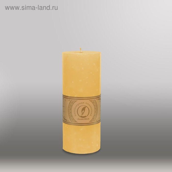 """Свеча цилиндр """"Мрамор"""", 80x200мм,  желтый"""
