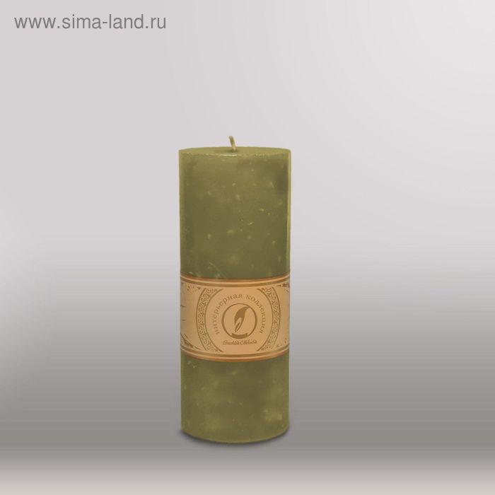 """Свеча цилиндр """"Мрамор"""", 80x200мм,  оливковый"""