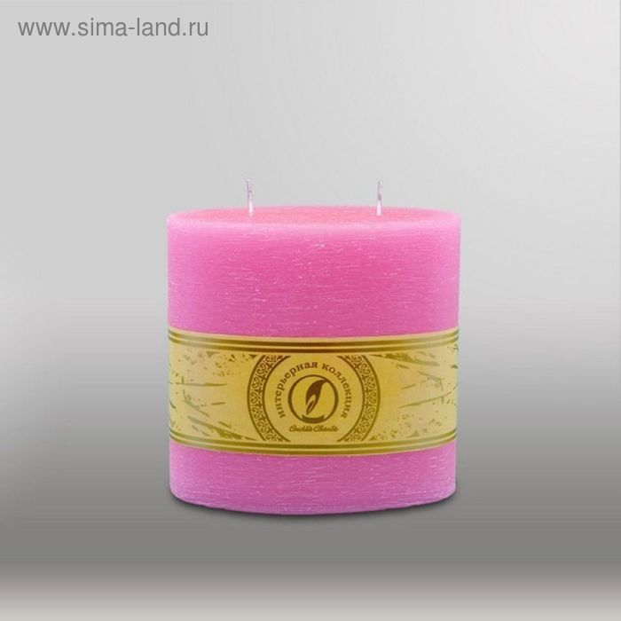 "Свеча овальная призма ""Рельеф"", 150х75х150мм,  2 фитиля розовый"