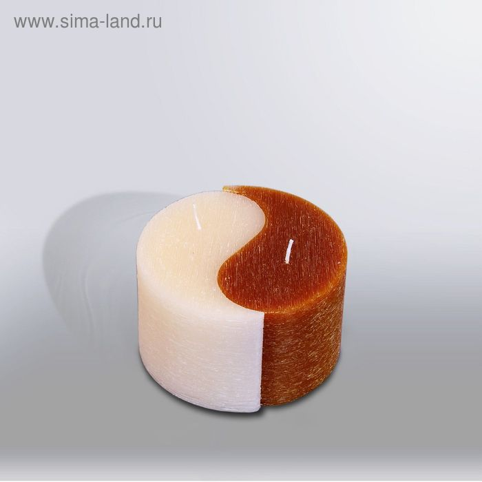 """Свеча двудольная призма Инь-Янь """"Рельеф"""", 125x75мм,  коричневый/крем"""