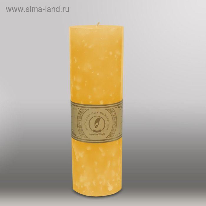 """Свеча цилиндр """"Мрамор"""", 80x255мм,  желтый"""