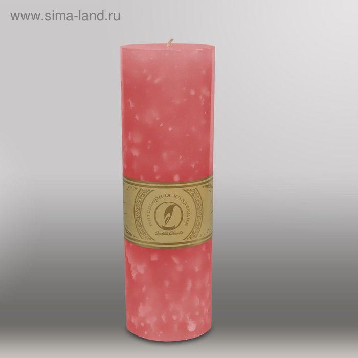 """Свеча цилиндр """"Мрамор"""", 80x255мм,  розовый"""