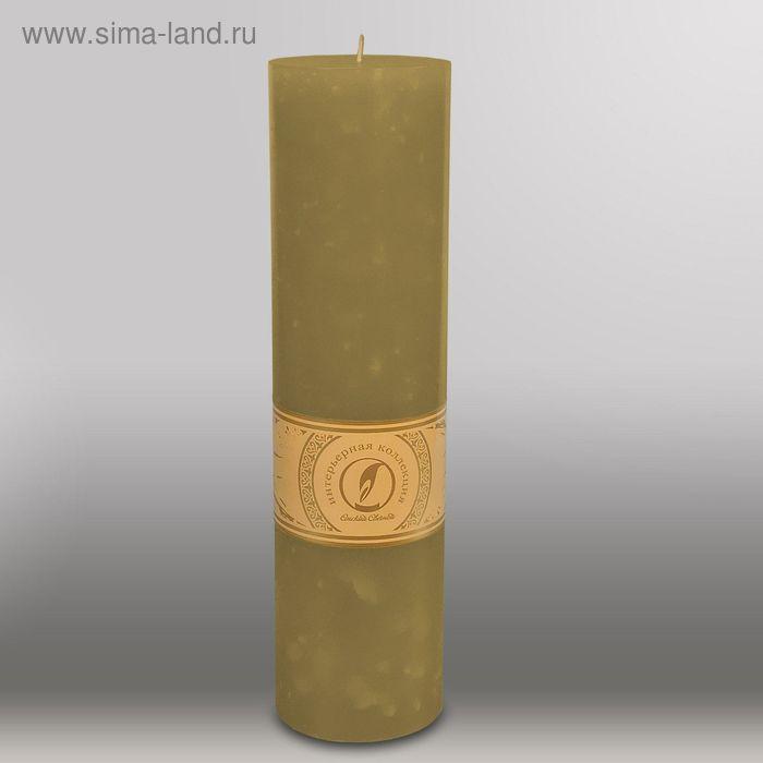 """Свеча цилиндр """"Мрамор"""", 80x305мм,  оливковый"""