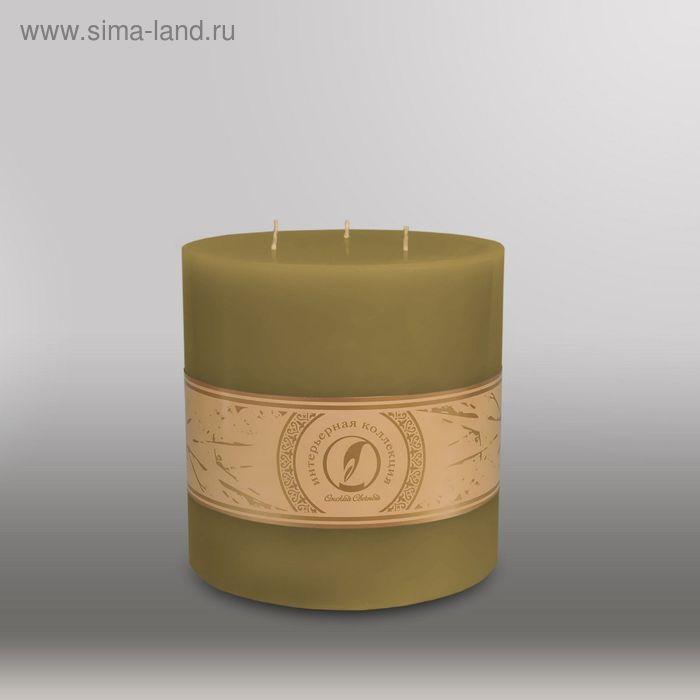 "Свеча цилиндр ""Классика"", 150x150мм,  3 фитиля оливковый"