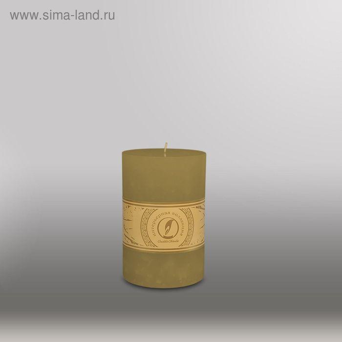 """Свеча цилиндр """"Мрамор"""", 100x150мм,  оливковый"""