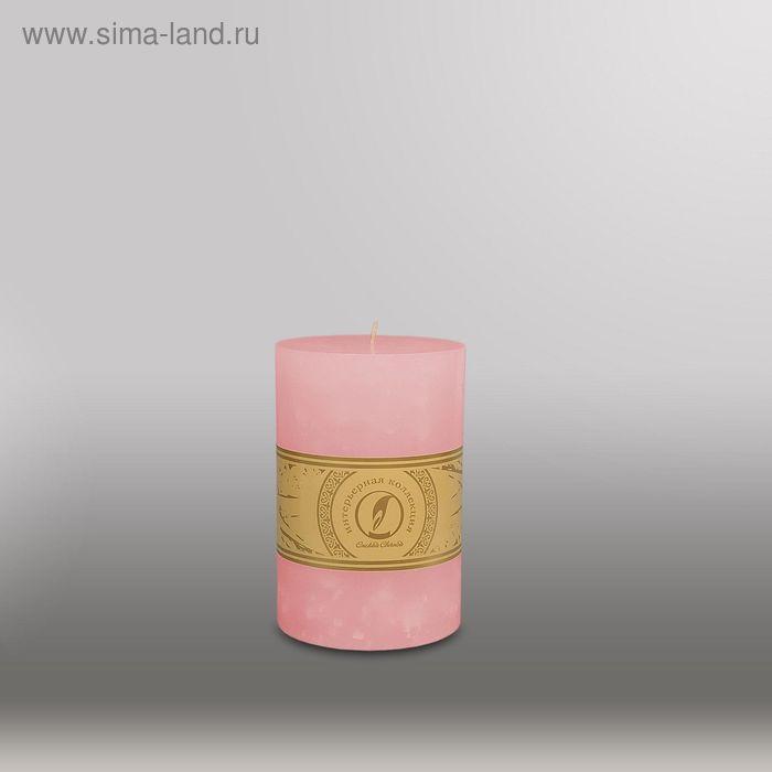 """Свеча цилиндр """"Мрамор"""", 100x150мм,  розовый"""