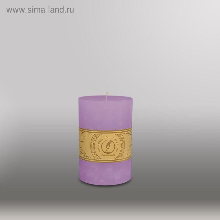 """Свеча цилиндр """"Мрамор"""", 100x150мм,  сиреневый"""