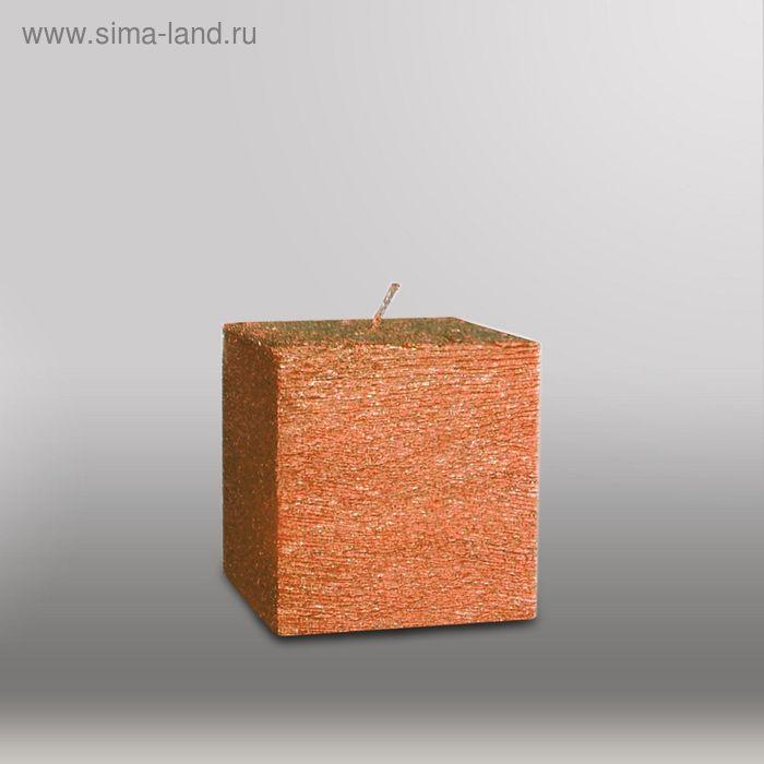 "Свеча куб ""Металлик"", 75мм,  бронза"