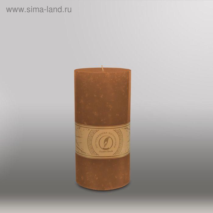 """Свеча цилиндр """"Мрамор"""", 100x205мм,  коричневый"""
