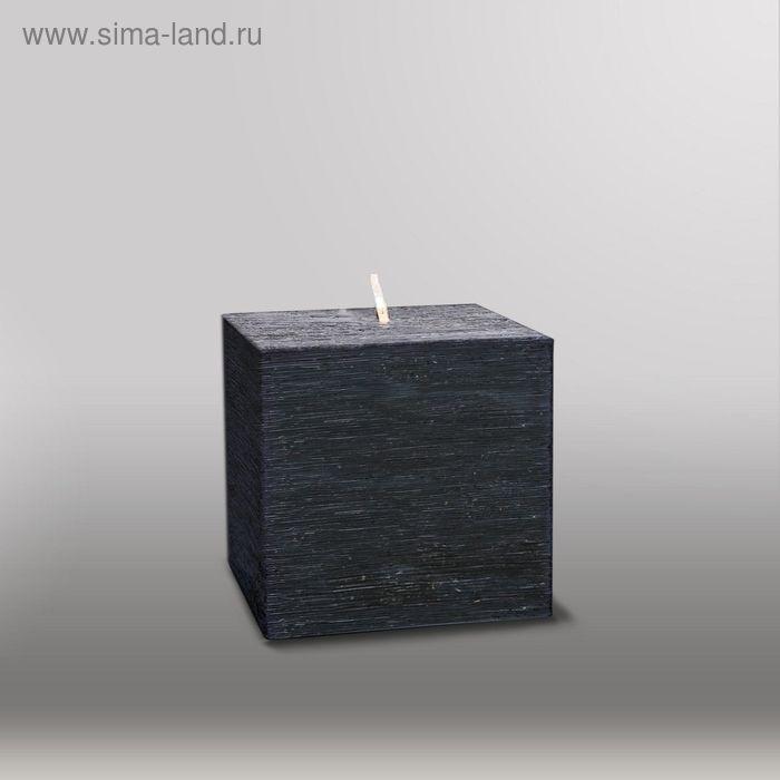 """Свеча куб """"Рельеф"""", 75мм,  черный"""