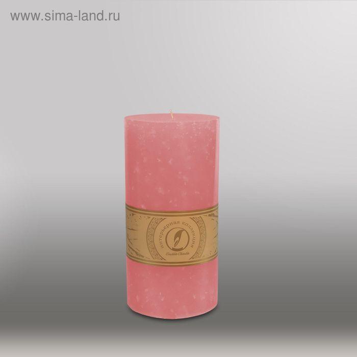 """Свеча цилиндр """"Мрамор"""", 100x205мм,  розовый"""