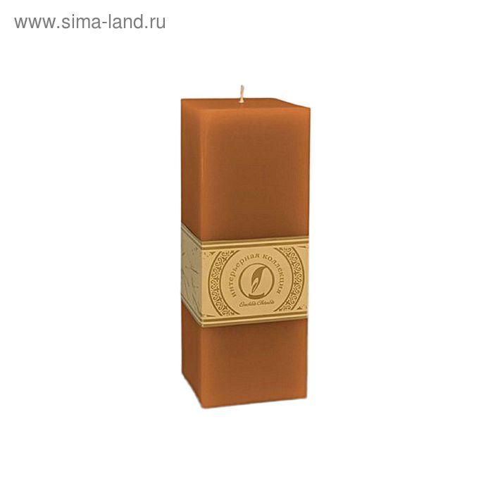 "Свеча квадратная призма ""Классика"", 75x75х205мм,  коричневый"