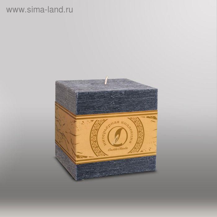 """Свеча куб """"Рельеф"""", 100мм,  черный"""