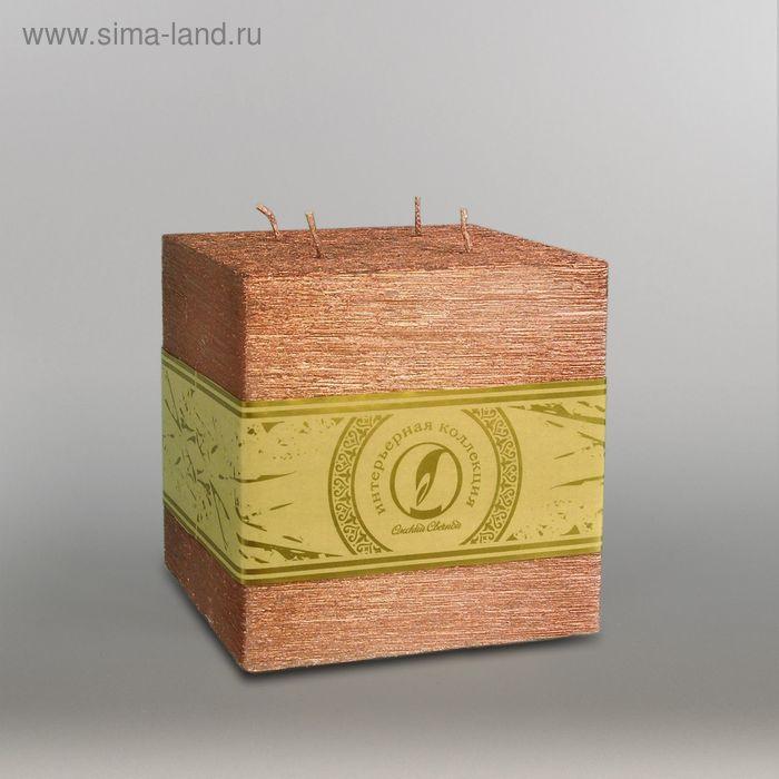 """Свеча куб """"Металлик"""", 125мм,  4 фитиля бронза"""