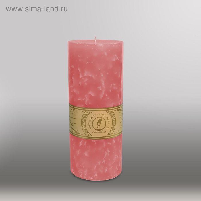 """Свеча цилиндр """"Мрамор"""", 100x255мм,  розовый"""