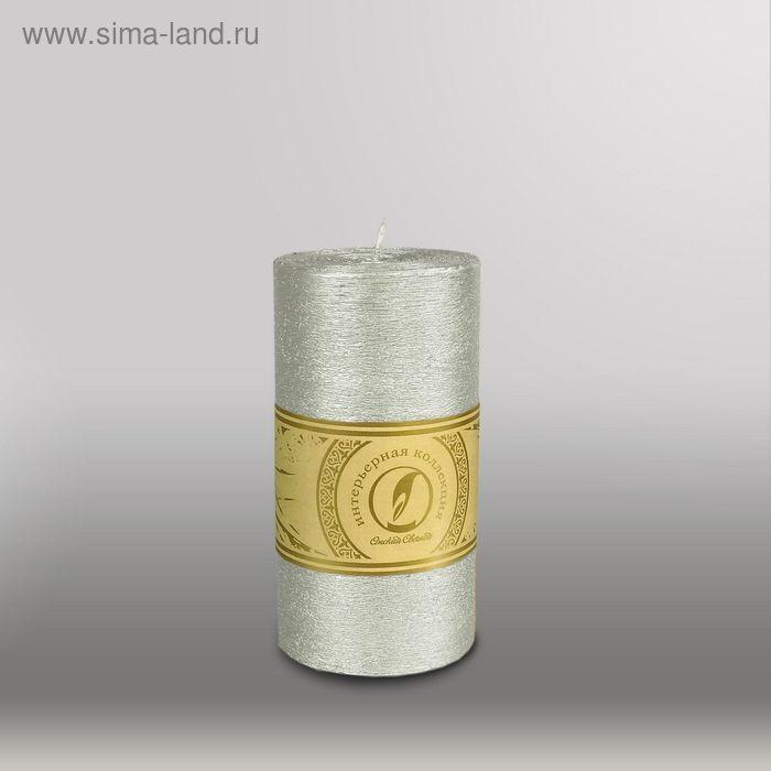 """Свеча цилиндр """"Металлик"""", 80x150мм,  серебро"""