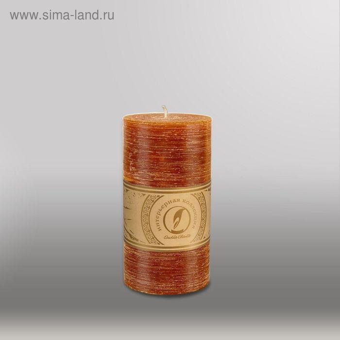 "Свеча цилиндр ""Рельеф"", 80x150мм,  коричневый"