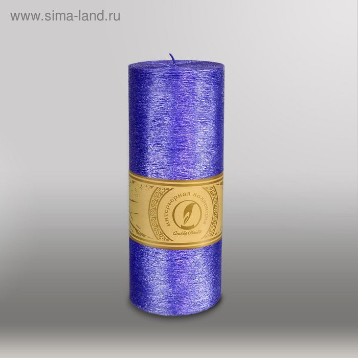 "Свеча цилиндр ""Металлик"", 80x200мм,  темно-фиолетовый"