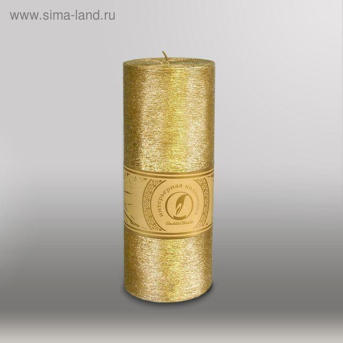 "Свеча цилиндр ""Металлик"", 80x200мм,  золото"