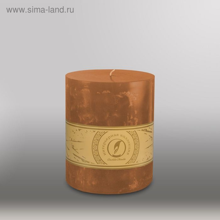 """Свеча цилиндр """"Мрамор"""", 125x150мм,  коричневый"""