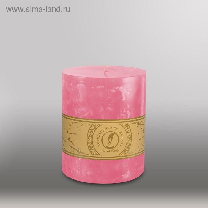"""Свеча цилиндр """"Мрамор"""", 125x150мм,  розовый"""