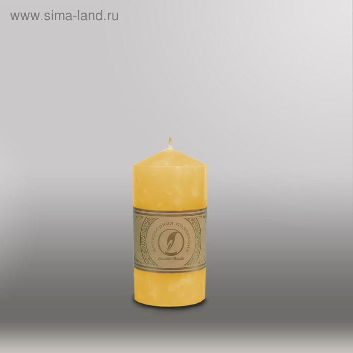 """Свеча цилиндр с конусом """"Мрамор"""", 70x127мм,  желтый"""