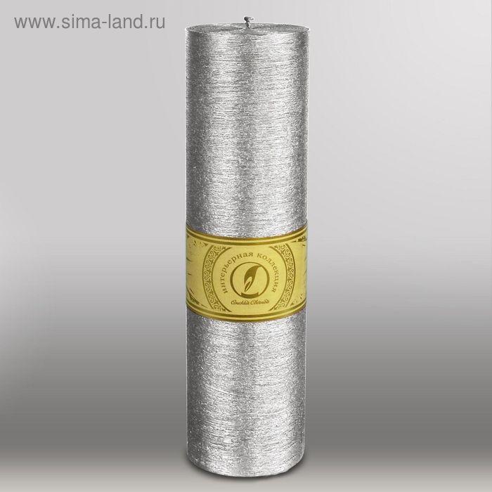 """Свеча цилиндр """"Металлик"""", 80x305мм,  серебро"""