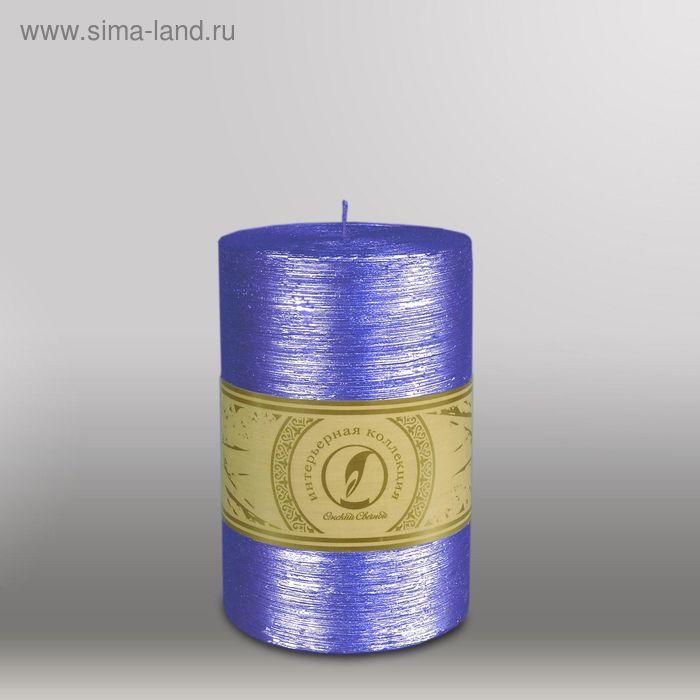 "Свеча цилиндр ""Металлик"", 100x150мм,  темно-фиолетовый"