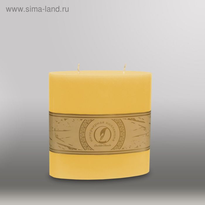 "Свеча овальная призма ""Классика"", 150x75х150мм,  2 фитиля желтый"