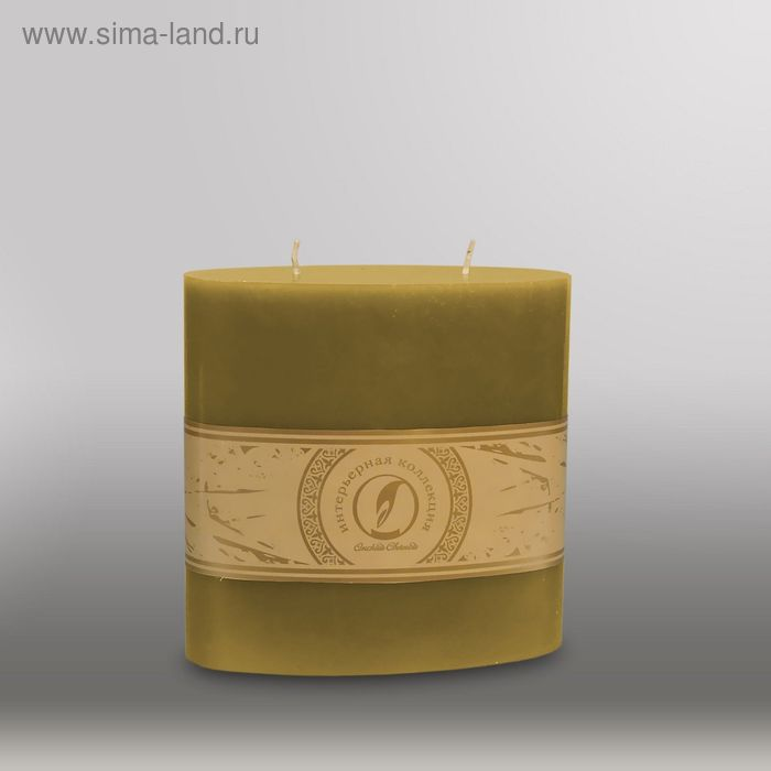 "Свеча овальная призма ""Классика"", 150x75х150мм,  2 фитиля оливковый"