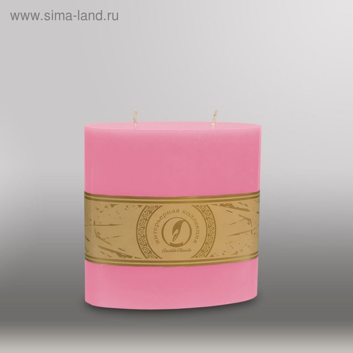 "Свеча овальная призма ""Классика"", 150x75х150мм,  2 фитиля розовый"
