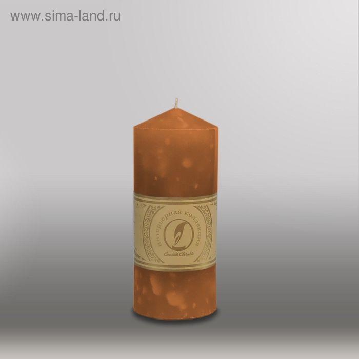 """Свеча цилиндр с конусом """"Мрамор"""", 70x155мм,  коричневый"""