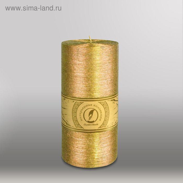"Свеча цилиндр ""Металлик"", 100x205мм,  золото"