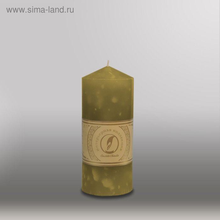 """Свеча цилиндр с конусом """"Мрамор"""", 70x155мм,  оливковый"""