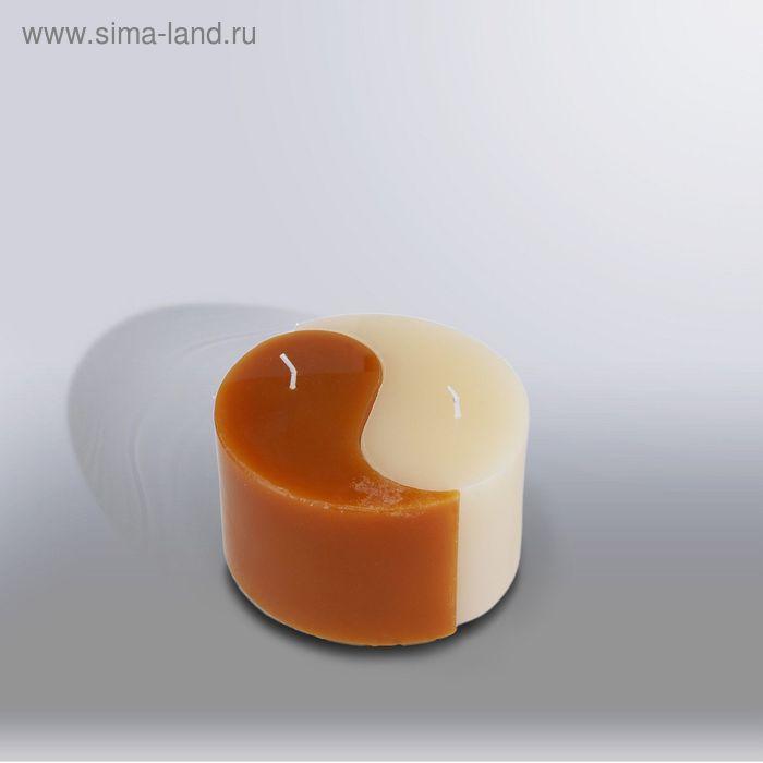 """Свеча двудольная призма Инь-Янь """"Классика"""", 125x75мм,  слоновая кость/коричн"""