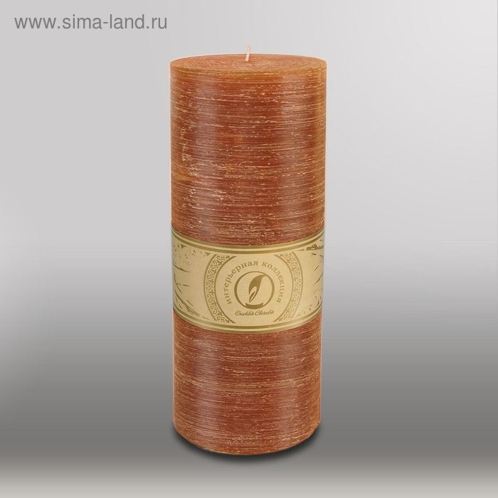 "Свеча цилиндр ""Рельеф"", 100x255мм,  коричневый"