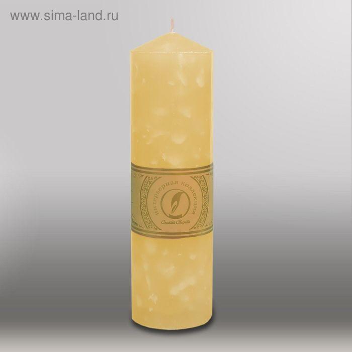 """Свеча цилиндр с конусом """"Мрамор"""", 70x250мм,  желтый"""