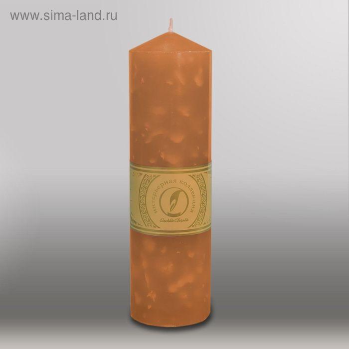 """Свеча цилиндр с конусом """"Мрамор"""", 70x250мм,  коричневый"""