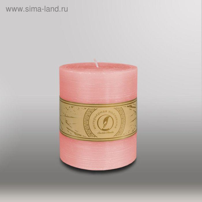 "Свеча цилиндр ""Рельеф"", 125x150мм,  розовый"