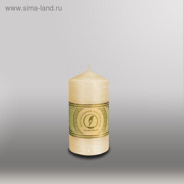 """Свеча цилиндр с конусом """"Рельеф"""", 70x127мм,  кремовый"""