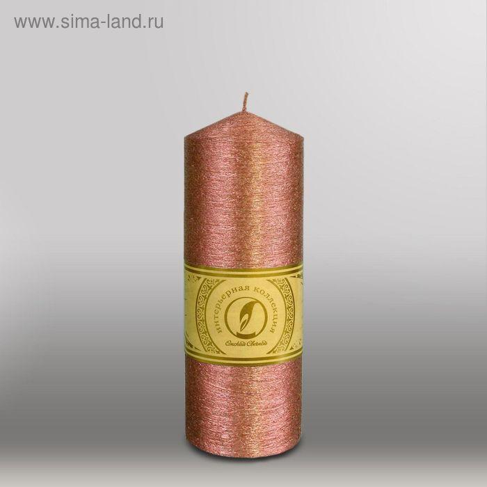 """Свеча цилиндр с конусом """"Металлик"""", 70x200мм,  бронза"""