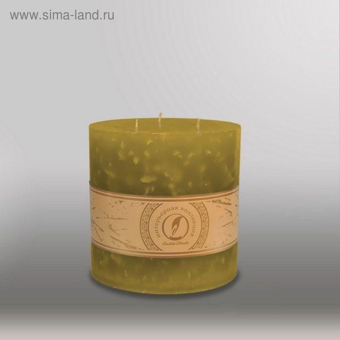 "Свеча цилиндр ""Мрамор"", 150x150мм,  3 фитиля оливковый"