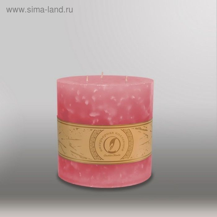 "Свеча цилиндр ""Мрамор"", 150x150мм,  3 фитиля розовый"
