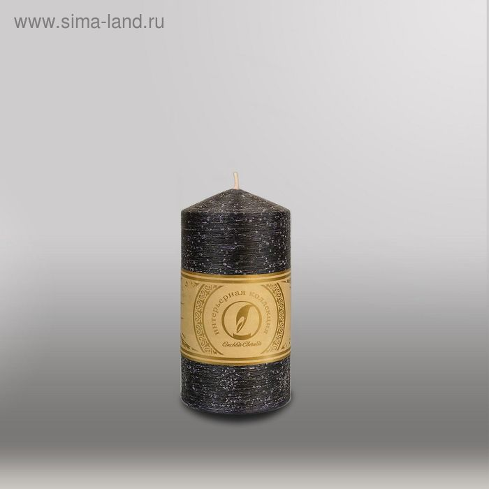 """Свеча цилиндр с конусом """"Рельеф"""", 70x127мм,  черный"""