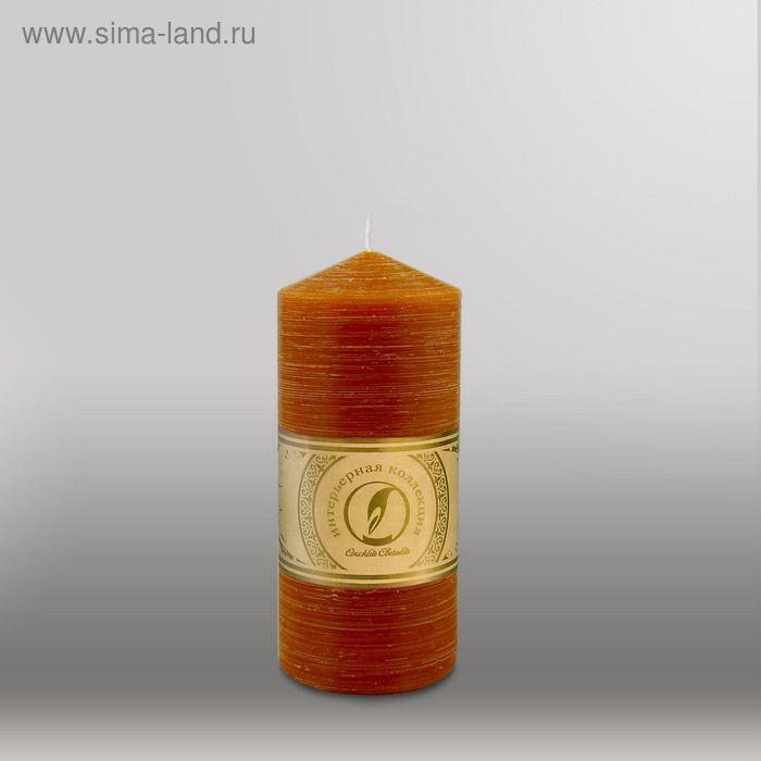 """Свеча цилиндр с конусом """"Рельеф"""", 70x150мм,  коричневый"""