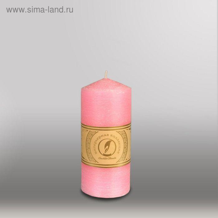 """Свеча цилиндр с конусом """"Рельеф"""", 70x150мм,  розовый"""