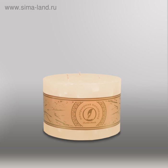 """Свеча цилиндр """"Мрамор"""", 150x105мм,  3 фитиля кремовый"""
